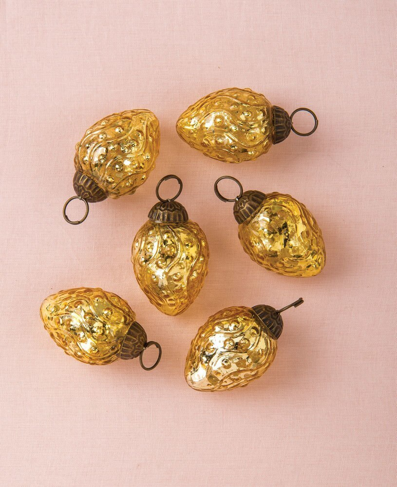 6 Pack | Mercury Glass Mini Ornaments (1 to 1.5-Inch, Gold, Marie) - Great Gift Idea, Vintage-Style Decorations for Christmas and Home Decor