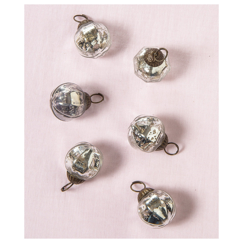 6 Pack | Mini Mercury Glass Ball Ornaments (1 to 1.5-Inch, Silver, Penina Design) - Great Gift Idea, Vintage-Style Decorations for Christmas - PaperLanternStore.com - Paper Lanterns, Decor, Party Lights & More