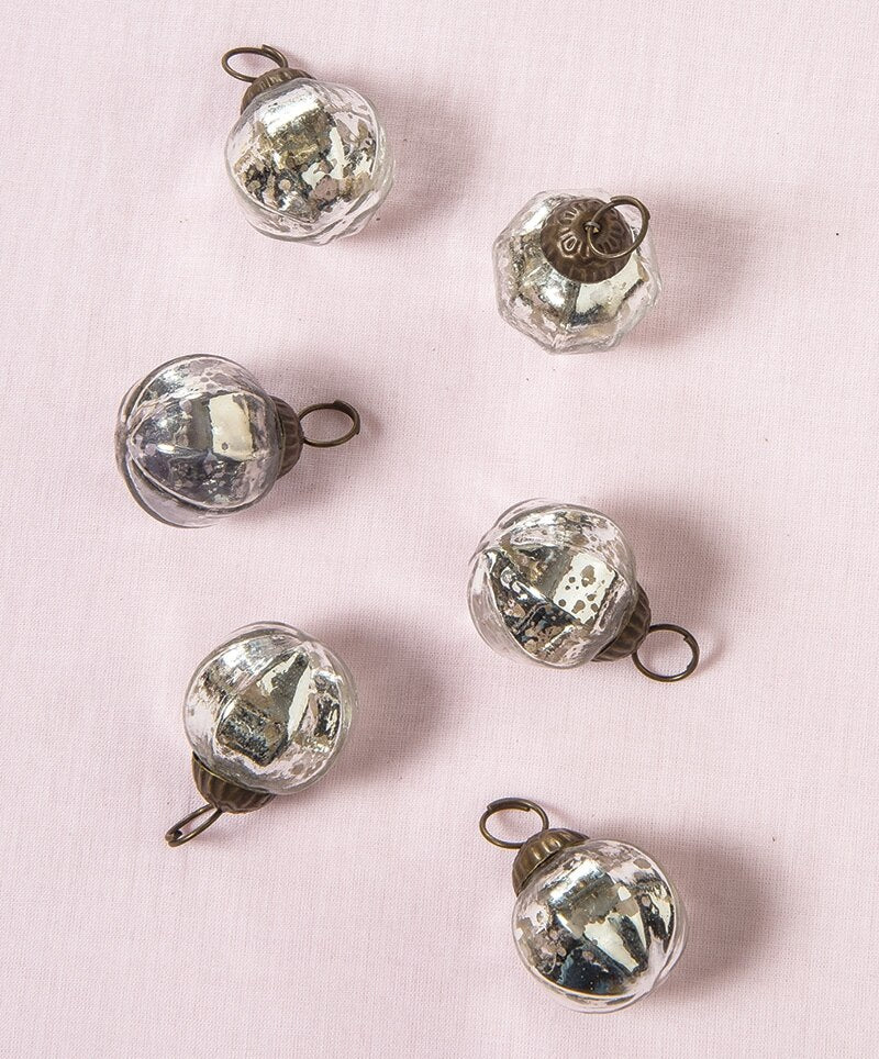 6 Pack | Mini Mercury Glass Ball Ornaments (1 to 1.5-Inch, Silver, Penina Design) - Great Gift Idea, Vintage-Style Decorations for Christmas