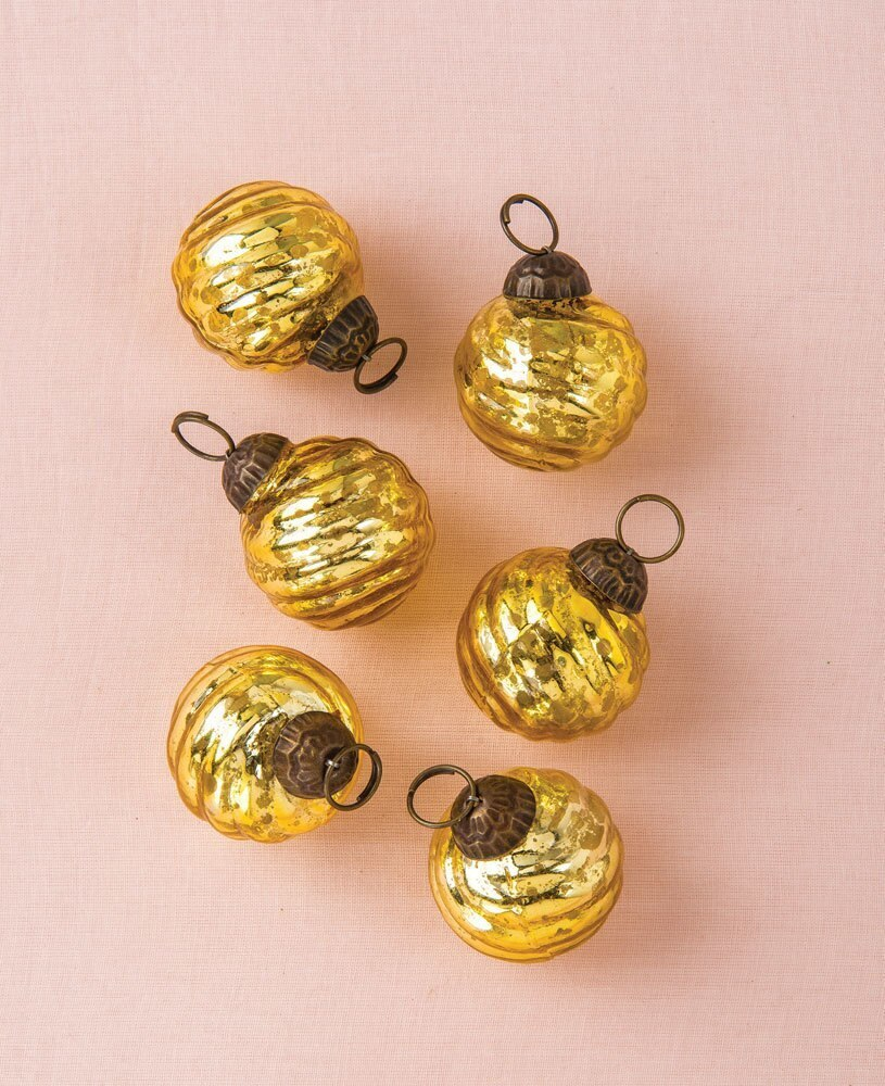 6 Pack | Mini Mercury Glass Ball Ornaments (1 to 1.5-Inch, Gold, Swirl Motif, Solene Design) - Great Gift Idea, Vintage-Style Decorations for Christmas, Special Occasions, Home Decor and Parties - PaperLanternStore.com - Paper Lanterns, Decor, Party Lights & More