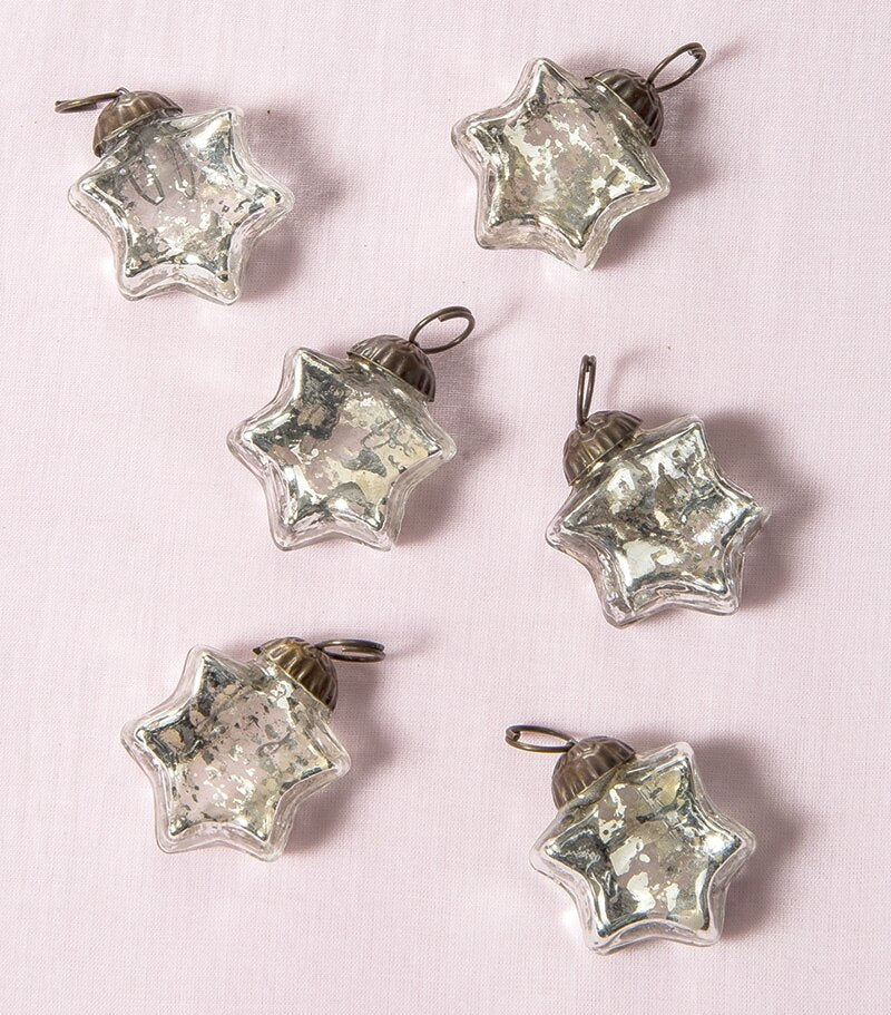 6 Pack | Mini Mercury Glass Star Ornaments (1 to 1.5-Inch, Silver, Imogen Design) - Great Gift Idea, Vintage-Style Decorations for Christmas and Home Decor