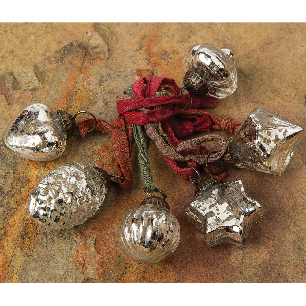 6 Pack | Mercury Glass Mini Ornaments (Assorted Designs, 1 to 1.5-inch, Silver) - Great Gift Idea, Vintage-Style Decorations for Christmas