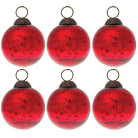 6 Pack | Small Mercury Glass Ball Ornament (2 to 2.25-Inch, Red, Ava) - Great Gift Idea, Vintage-Style Decorations for Christmas, Special Occasions, Home Decor and Parties