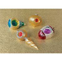 4 Pack | Vintage Indent Ornament Set of 4 (Gold, Ivory, Blue and Red)