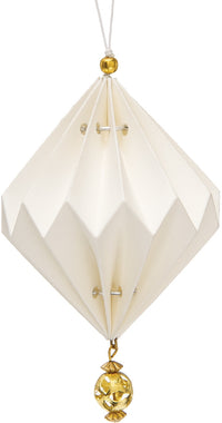 Vanja Design Tasseled Origami Ornament (4-Inch, White, Single)