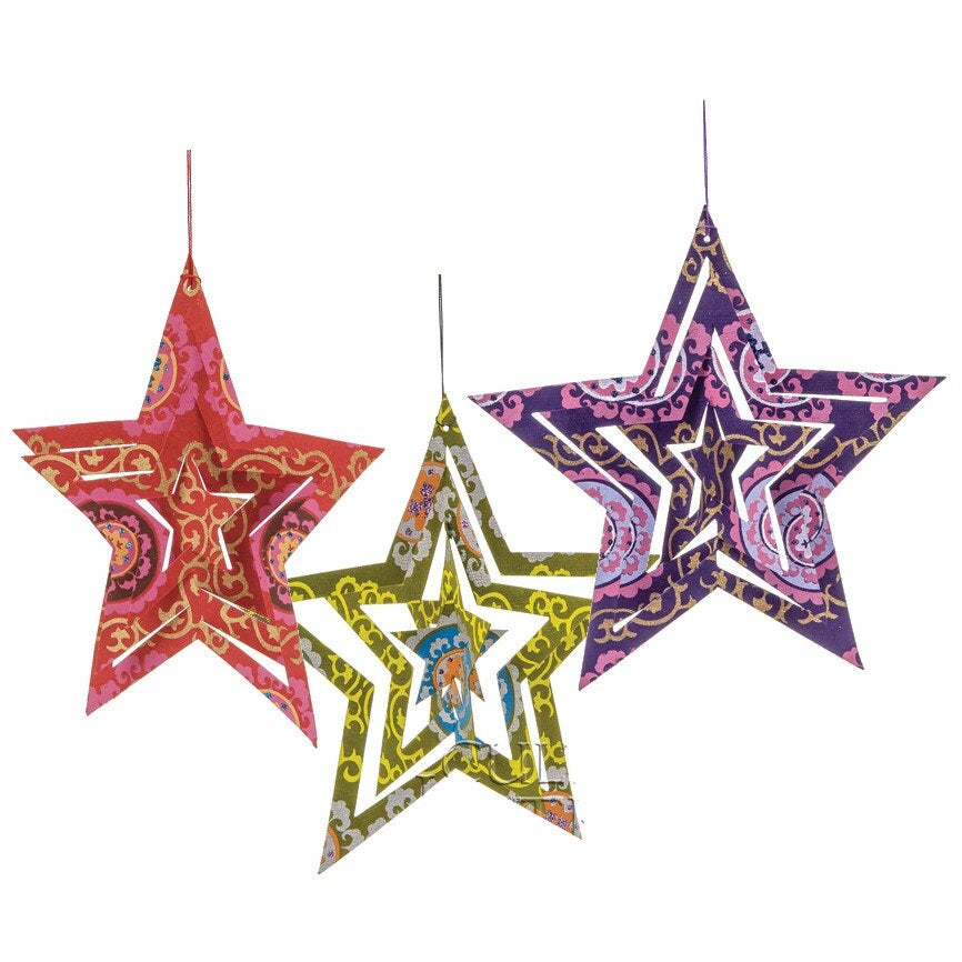 BLOWOUT 3 PACK | Star Origami Paper Ornaments (5.25-Inch, Multicolor)
