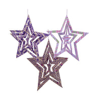 3 PACK | Star Origami Paper Ornaments (5.25-Inch, Purple)