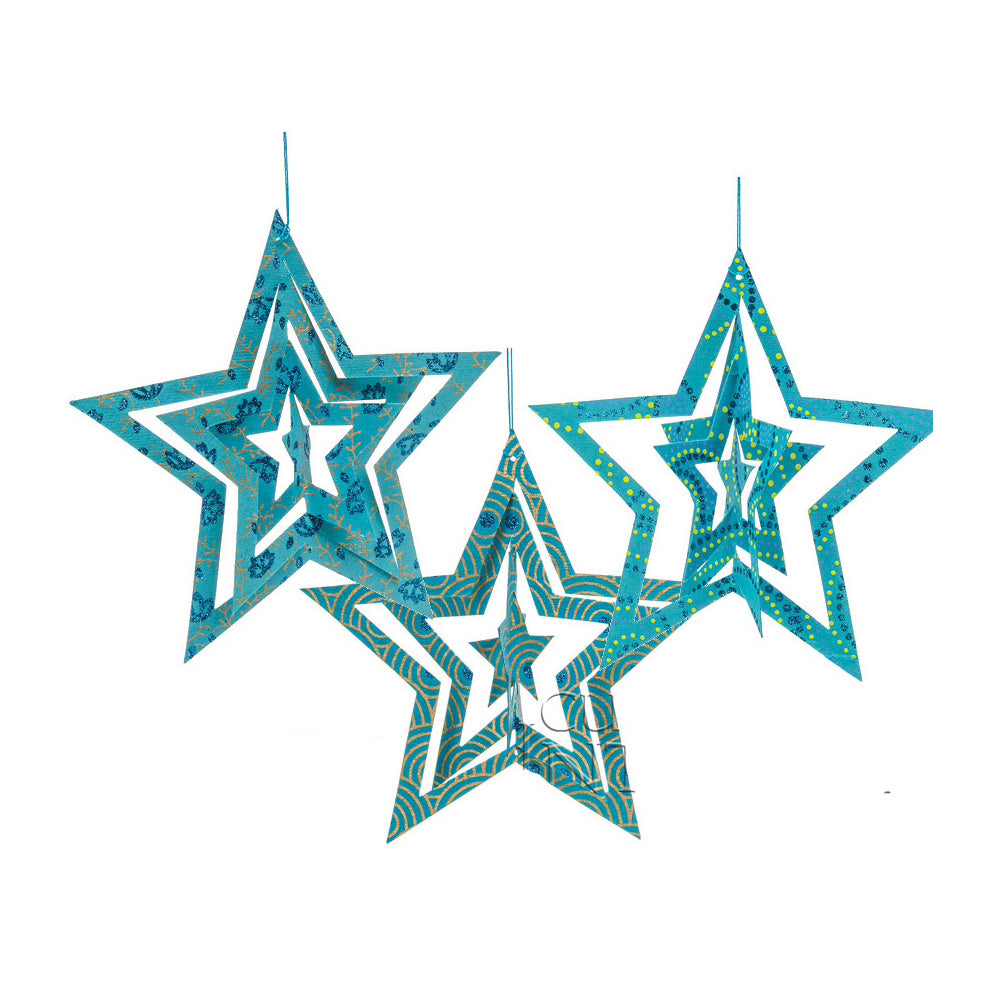 3 PACK | Star Origami Paper Ornaments (5.25-Inch, Turquoise Blue)