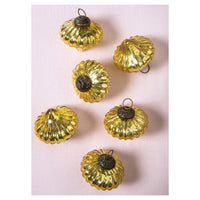 6 Pack | Small Mercury Glass Ornaments (2 to 2.25-inch, Gold, Lucy Design) - Great Gift Idea, Vintage-Style Decorations for Christmas, Special Occasions, Home Decor and Parties