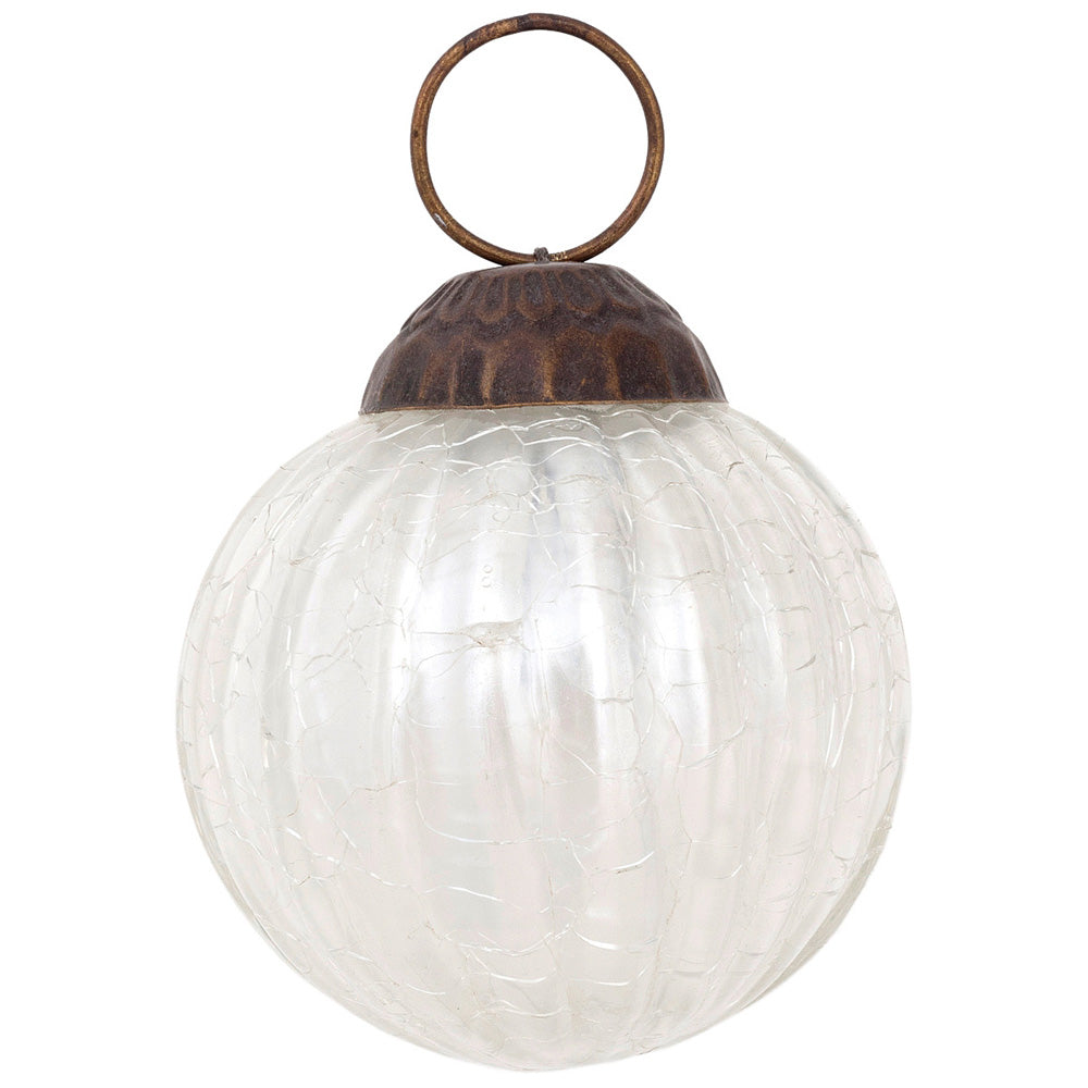 Large Mercury Glass Ball Ornaments (3-Inch, Pearl White, Mona Design, Single)