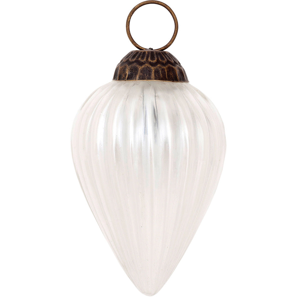 Small Mercury Glass Ornaments (2 to 2.25-inch, Pearl White, Laura Design, Single)