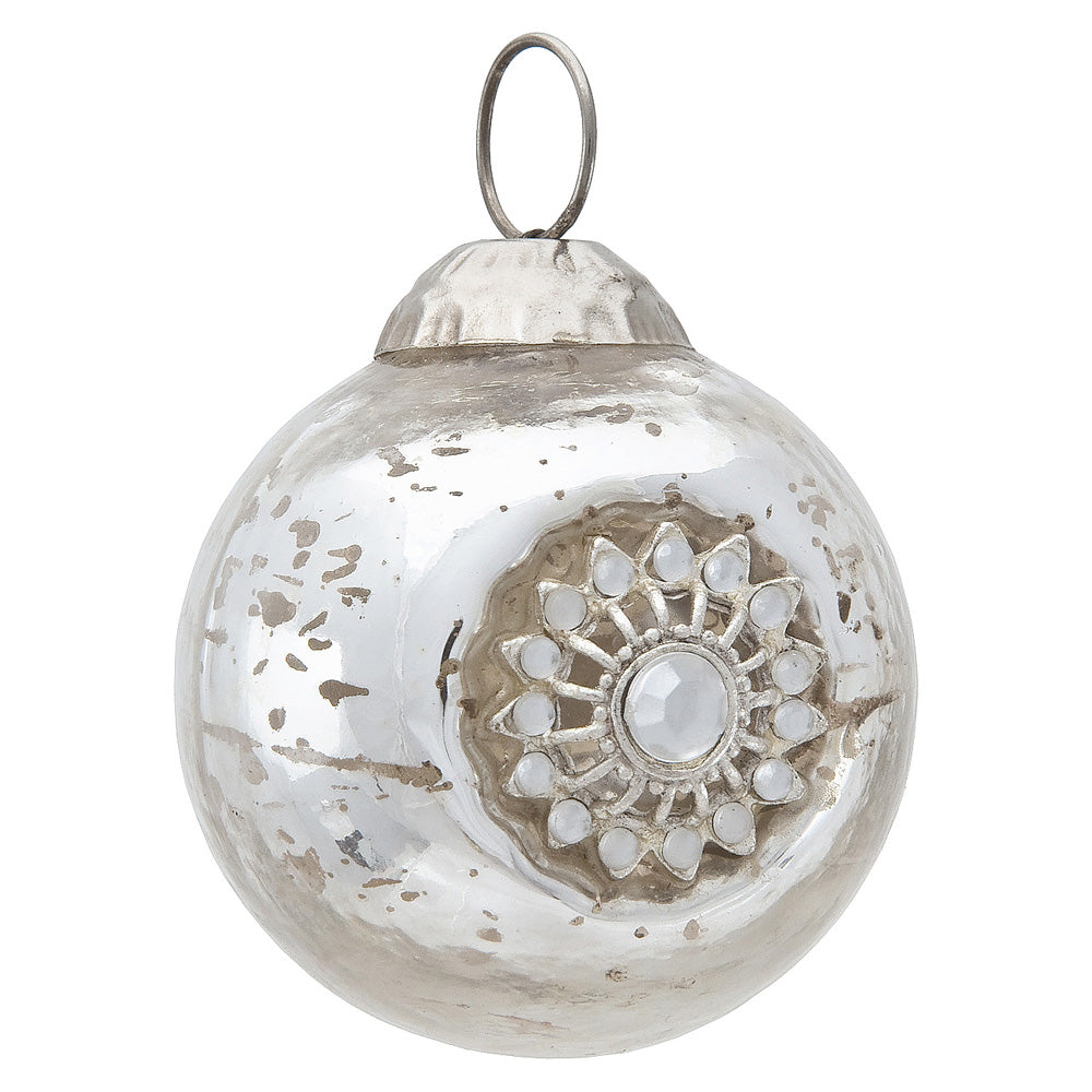 Mercury Glass Ornaments (2.25-Inch, Audrey Bejeweled Design, Silver, Single)