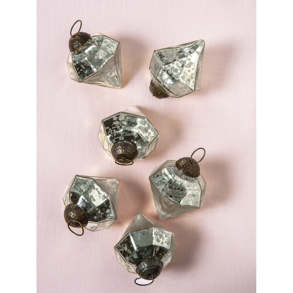 6 Pack | Mercury Glass Small Ornaments (2.25-inch, Silver, Elizabeth Design) - Great Gift Idea, Vintage-Style Decorations for Christmas, Special Occasions, Home Decor and Parties - PaperLanternStore.com - Paper Lanterns, Decor, Party Lights & More