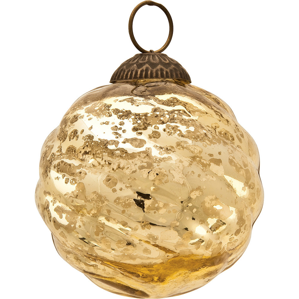 Large Mercury Glass Ball Ornament (3-Inch, Gold, Swirl Motif, Solene Design, Single) - PaperLanternStore.com - Paper Lanterns, Decor, Party Lights & More