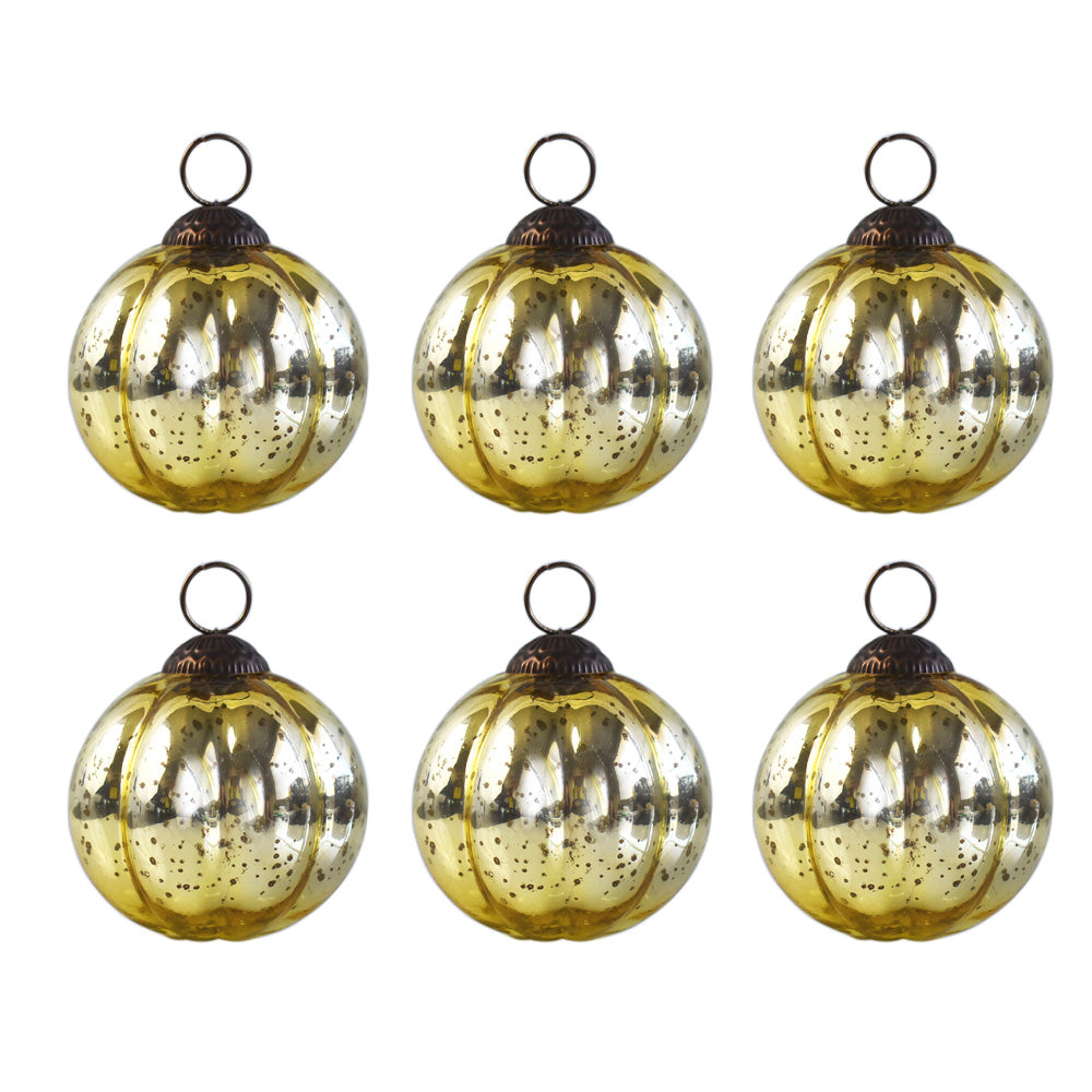 6 Pack | Large Mercury Glass Ball Ornaments (3-Inch, Gold, Posey Ball Design) - Great Gift Idea, Vintage-Style Decorations for Christmas, Special Occasions, Home Decor and Parties