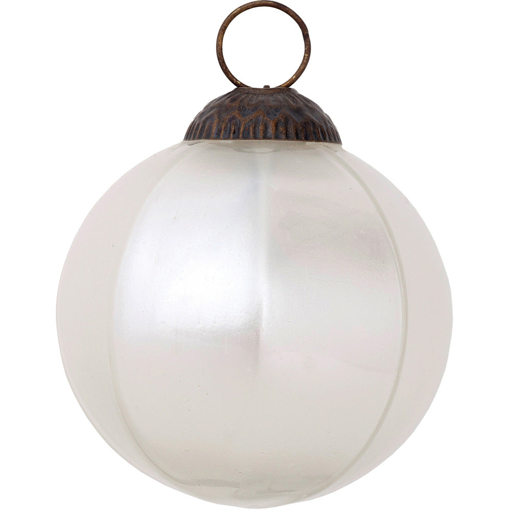 Large Mercury Glass Ball Ornament (3-Inch, Pearl White, Penina Design, Single) - PaperLanternStore.com - Paper Lanterns, Decor, Party Lights & More