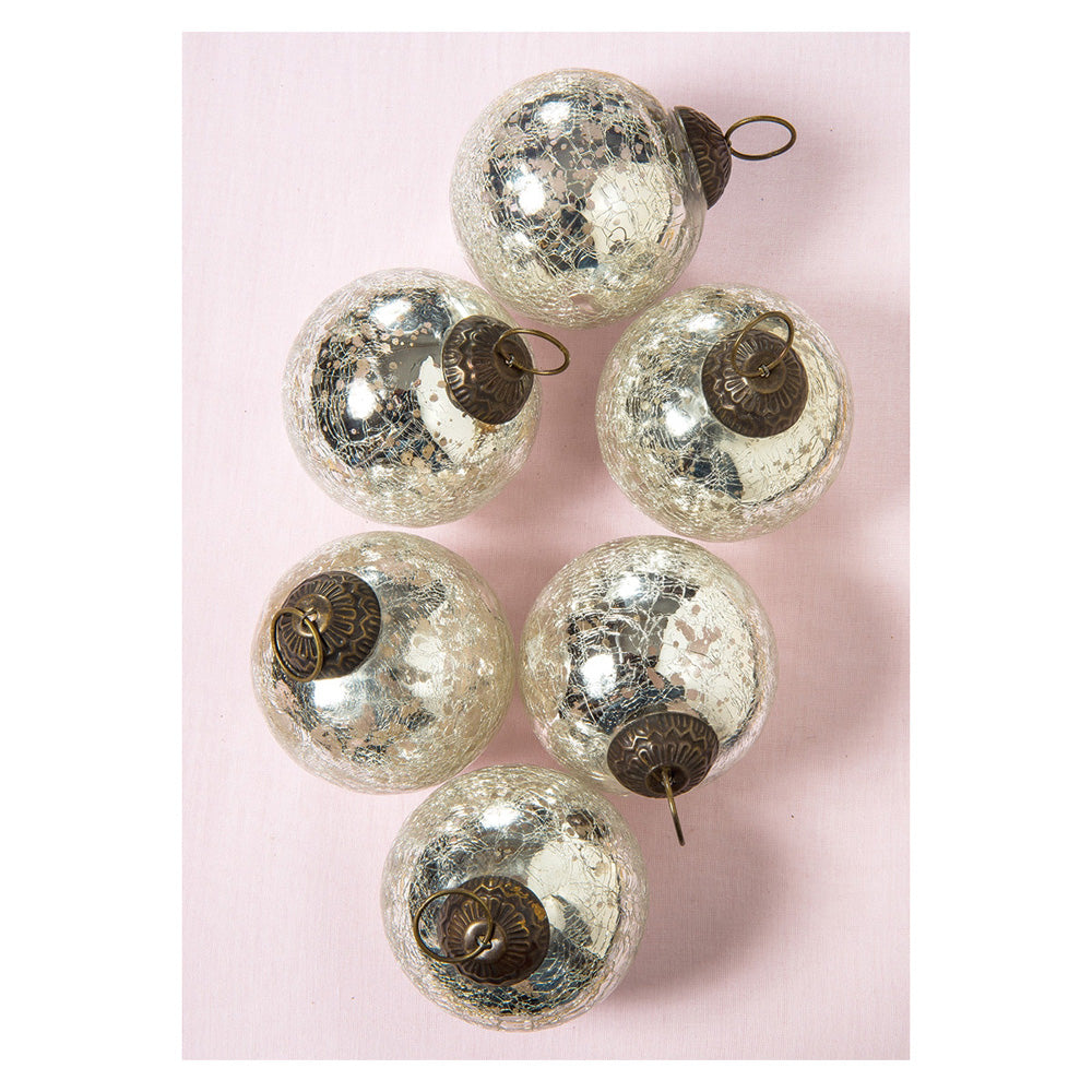 6 Pack | Large Mercury Glass Ball Ornaments (3-Inch, Silver, Lana Ball Design) - Great Gift Idea, Vintage-Style Decorations for Christmas, Special Occasions, Home Decor and Parties
