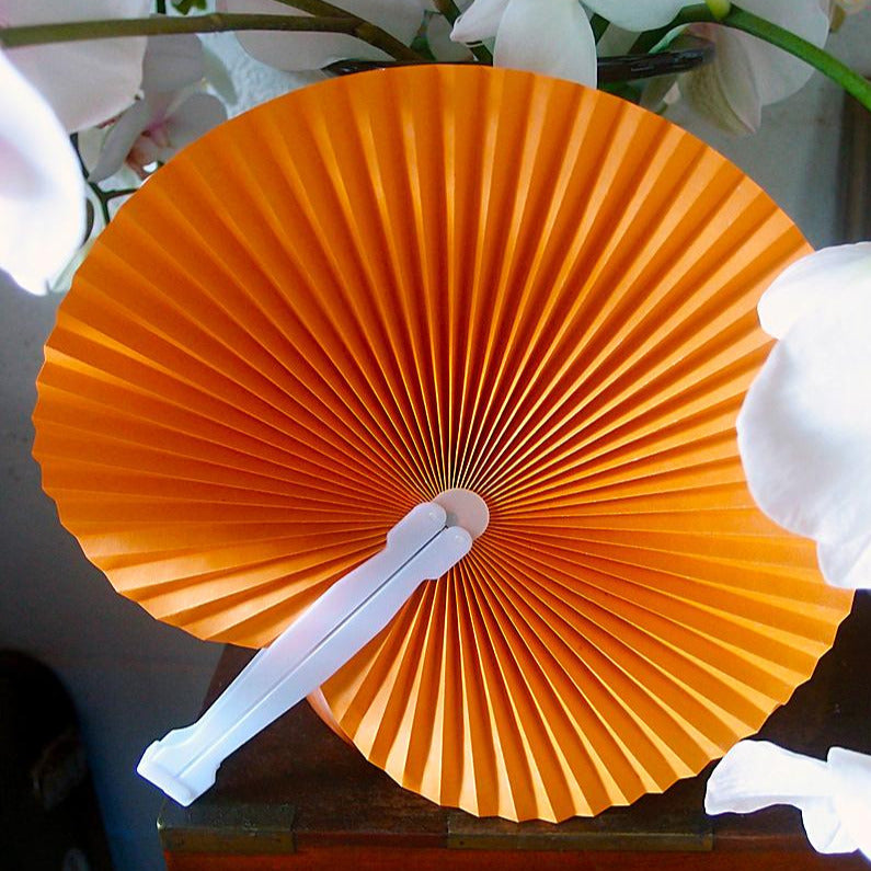 "BLOWOUT 9"" Orange Accordion Paper Hand Fan for Weddings (10 Pack)"