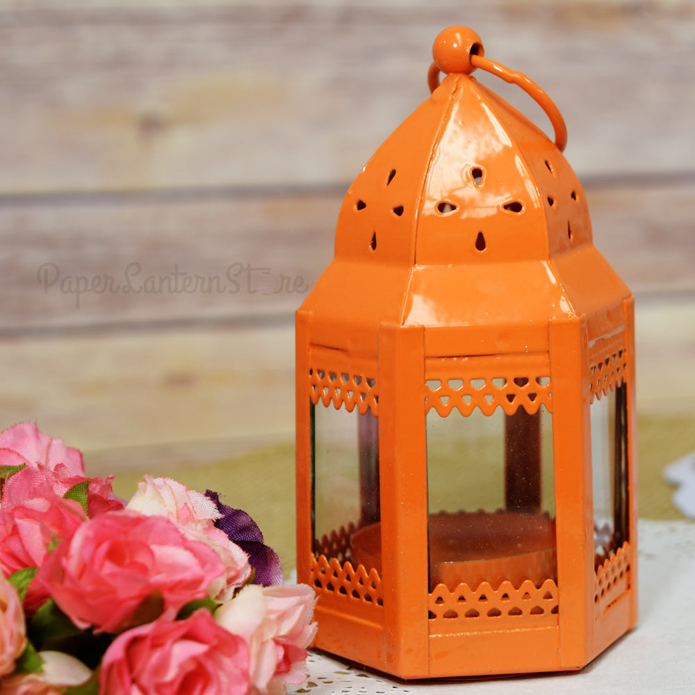 "BLOWOUT 4.75"" Orange Taj Hurricane Candle Lantern"