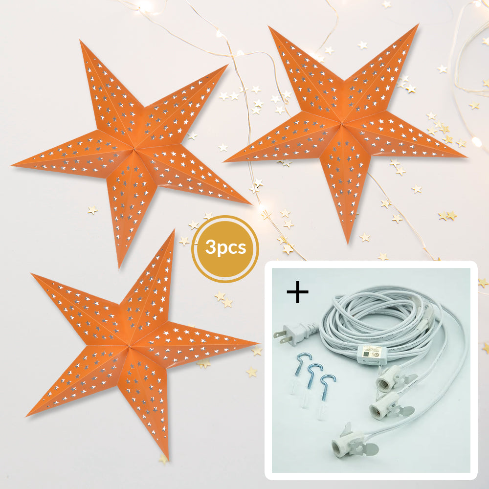 "3-PACK + Cord | Orange Starry Night 24"" Illuminated Paper Star Lanterns and Lamp Cord Hanging Decorations"