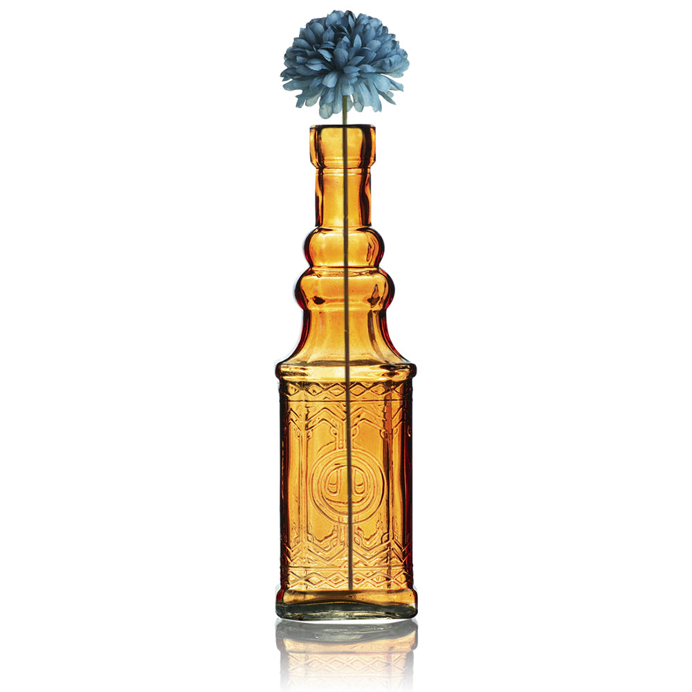 "6.5"" Ella Orange Vintage Glass Bottle with Cork - DIY Wedding Flower Bud Vases"