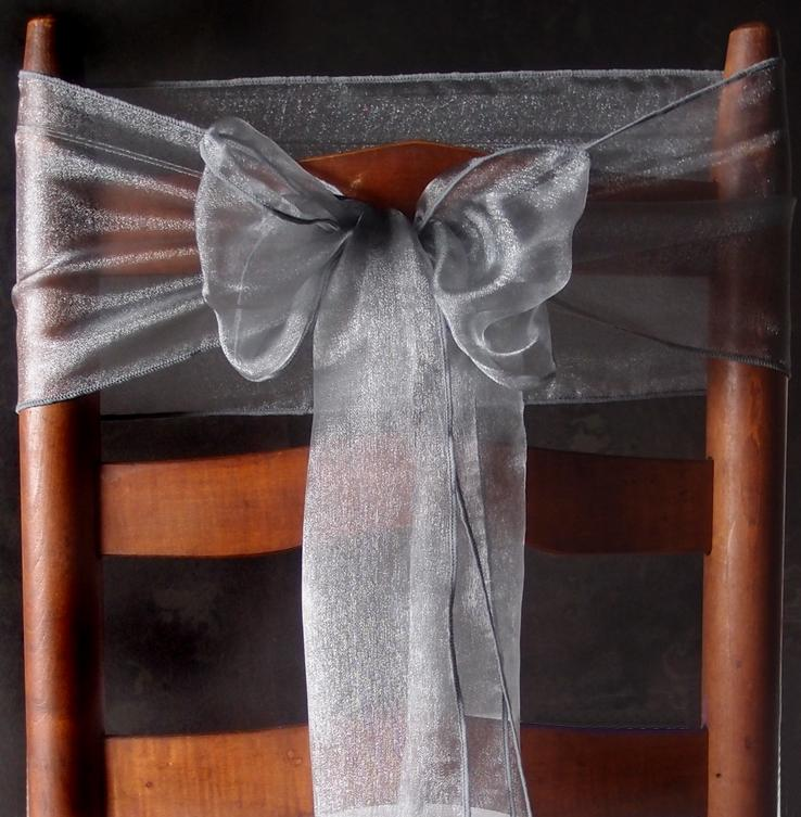 BLOWOUT Silver Organza Chair Sashes (9FT, 10 PACK) - PaperLanternStore.com - Paper Lanterns, Decor, Party Lights & More