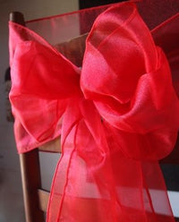 "6 Pack Red Organza Table Runner - 12""x108"""