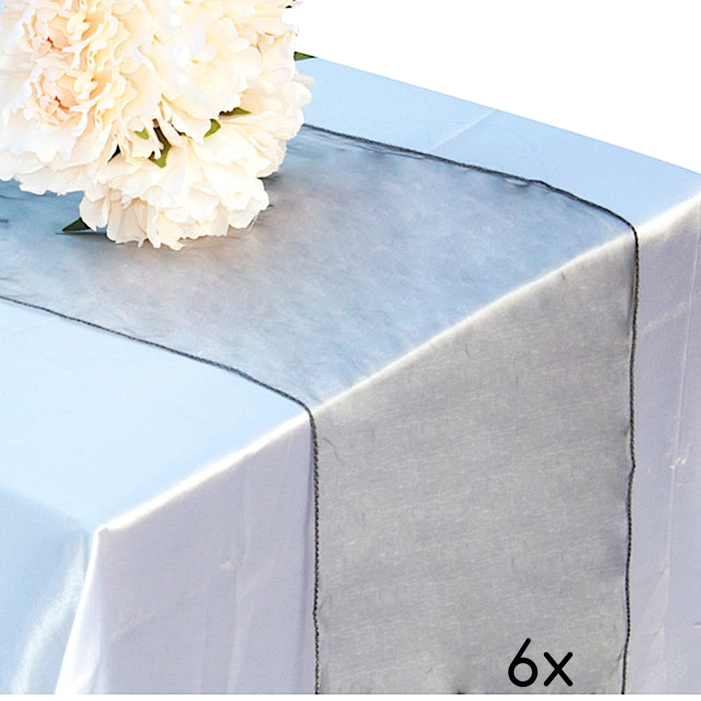 "6 Pack Dark Silver Organza Table Runner - 12""x108"""
