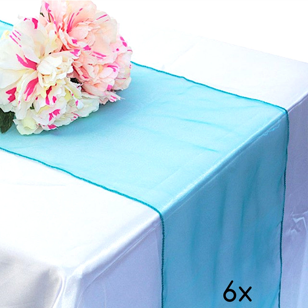 "6 Pack Turquoise Organza Table Runner - 12""x108"""