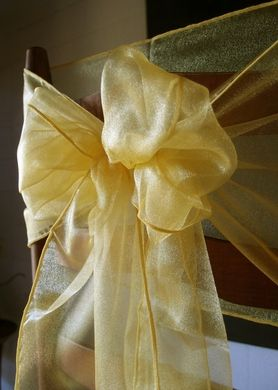 "6 Pack Yellow Organza Table Runner - 12""x108"""