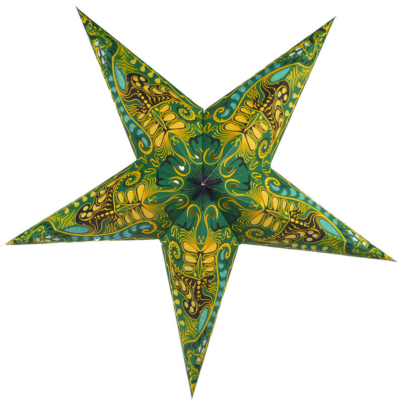 "24"" Green Oriental Swan Paper Star Lantern, Chinese Hanging Wedding & Party Decoration"