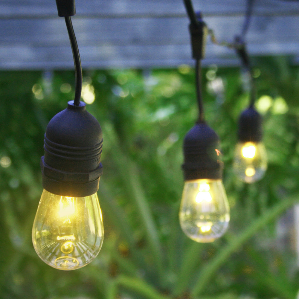 10 Suspended Socket Outdoor Commercial String Light Set, S14 Bulbs, 21 FT Black Cord w/ E26 Medium Base, Weatherproof