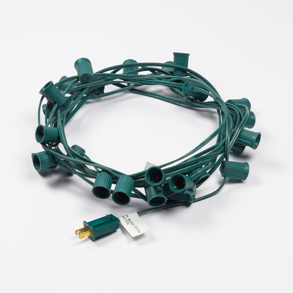 BLOWOUT (Cord Only) 25 Socket Outdoor Patio DIY String Light, 28 FT Green w/ E17 Base