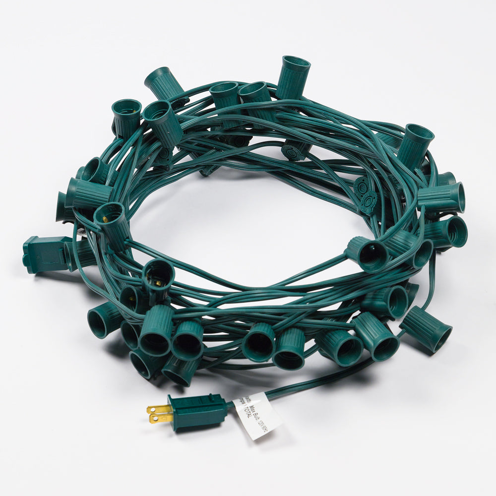 BLOWOUT (Cord Only) 50 Socket Outdoor Patio DIY String Light, 51 FT Green w/ E17 Base