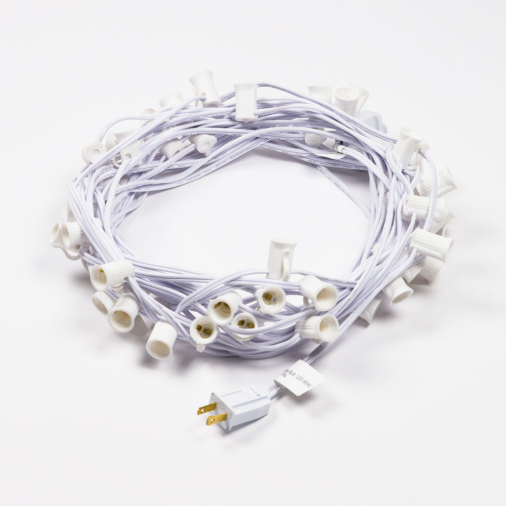 (Cord Only) 50 Socket Outdoor Patio DIY String Light, 51 FT White Stringer w/ E12 Base (No Bulbs)