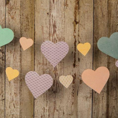 Pastel Paper Heart Pennant Banner (9.5 Feet Long) - PaperLanternStore.com - Paper Lanterns, Decor, Party Lights & More