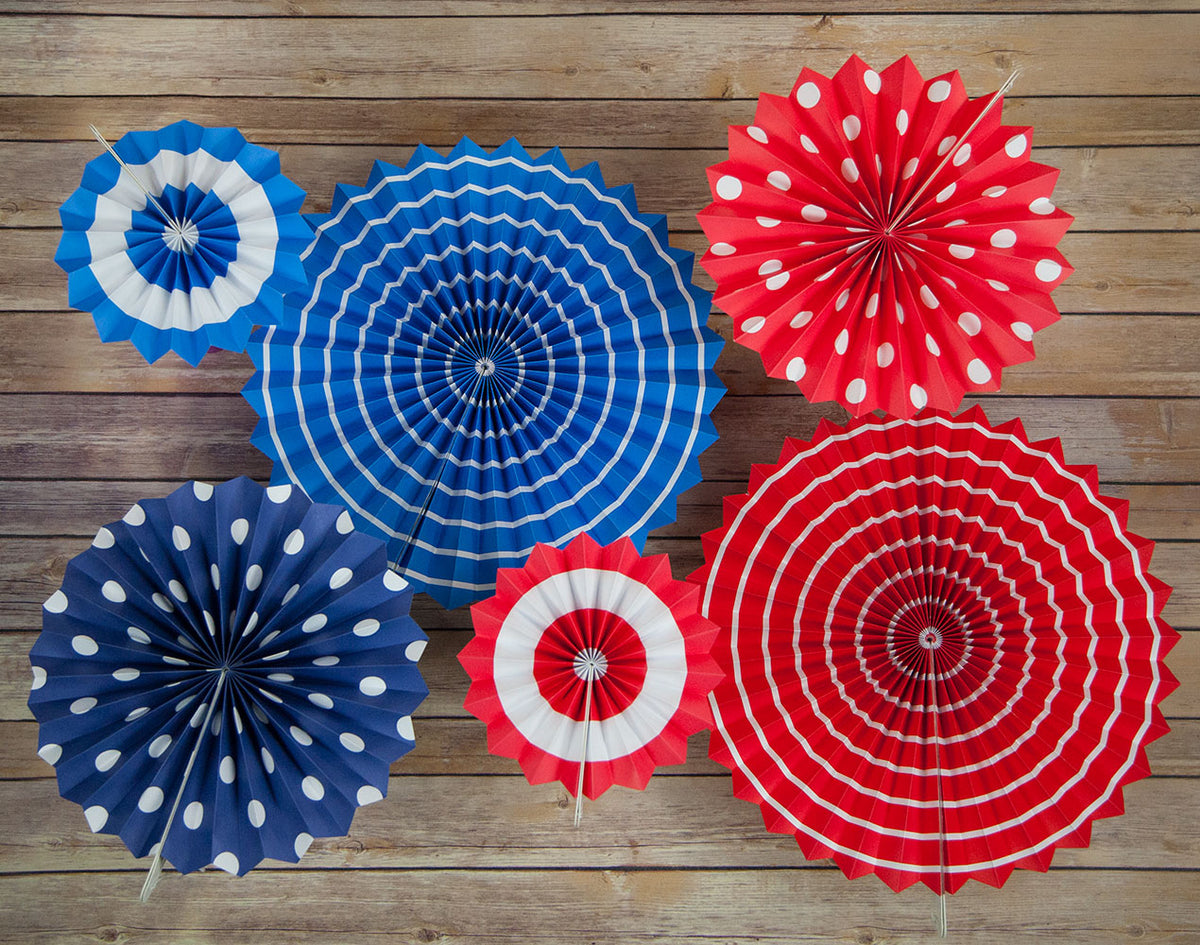 4th of July Red, White and Blue Paper Flower Backdrop Pinwheel Party Wall Decoration for 4th of July or any patriotic celebration