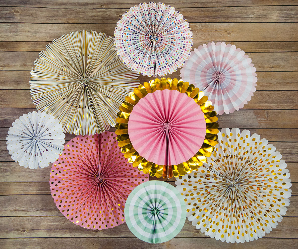 Metallic Celebration Paper Flower Fan Backdrop Pinwheel Party Wall Decoration Combo Kit - PaperLanternStore.com - Paper Lanterns, Decor, Party Lights & More
