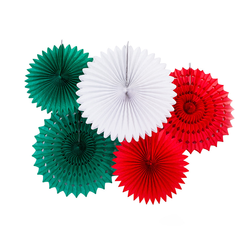 Festive Red White Green Tissue Paper Flower Fan Backdrop Wall Decoration Kit (5-PACK)