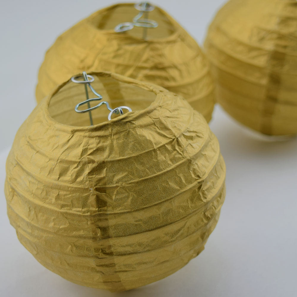 "10 Socket Gold Round Paper Lantern Party String Lights (4"" Lanterns, Expandable)"