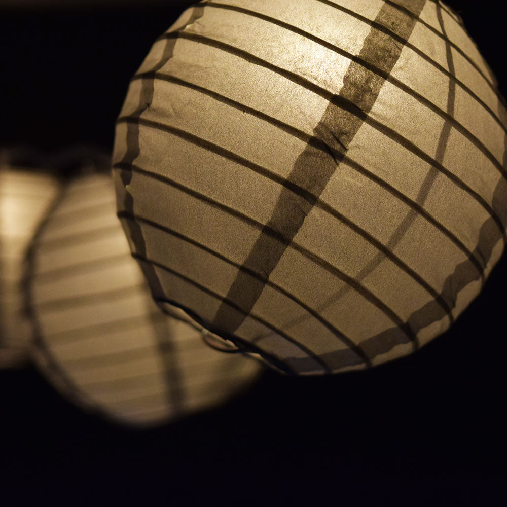 "10 Socket Silver Round Paper Lantern Party String Lights (4"" Lanterns, Expandable)"