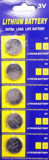 CR2032 Coin Cell Batteries for LED Lights and Remote Controls (5 Pack)