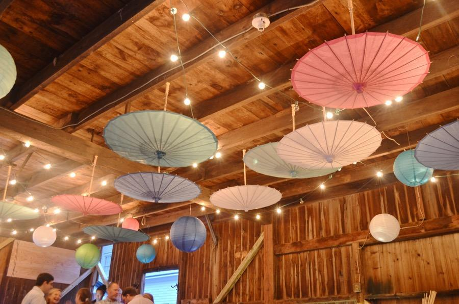 "32"" Silver Paper Parasol Umbrella - PaperLanternStore.com - Paper Lanterns, Decor, Party Lights & More"