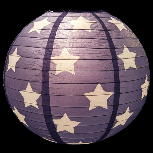 Patriotic 4th of July Stars and Stripes Paper Lantern String Light COMBO Kit (10x Lanterns, 21 FT, EXPANDABLE, White Cord)