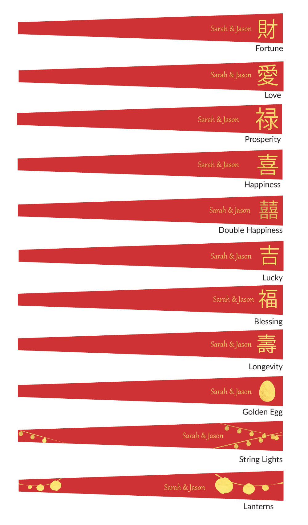 Personalized Chinese New Year Red Paper Hand Fans w/ Foil Labels (30 Pack) PRE-ASSEMBLED