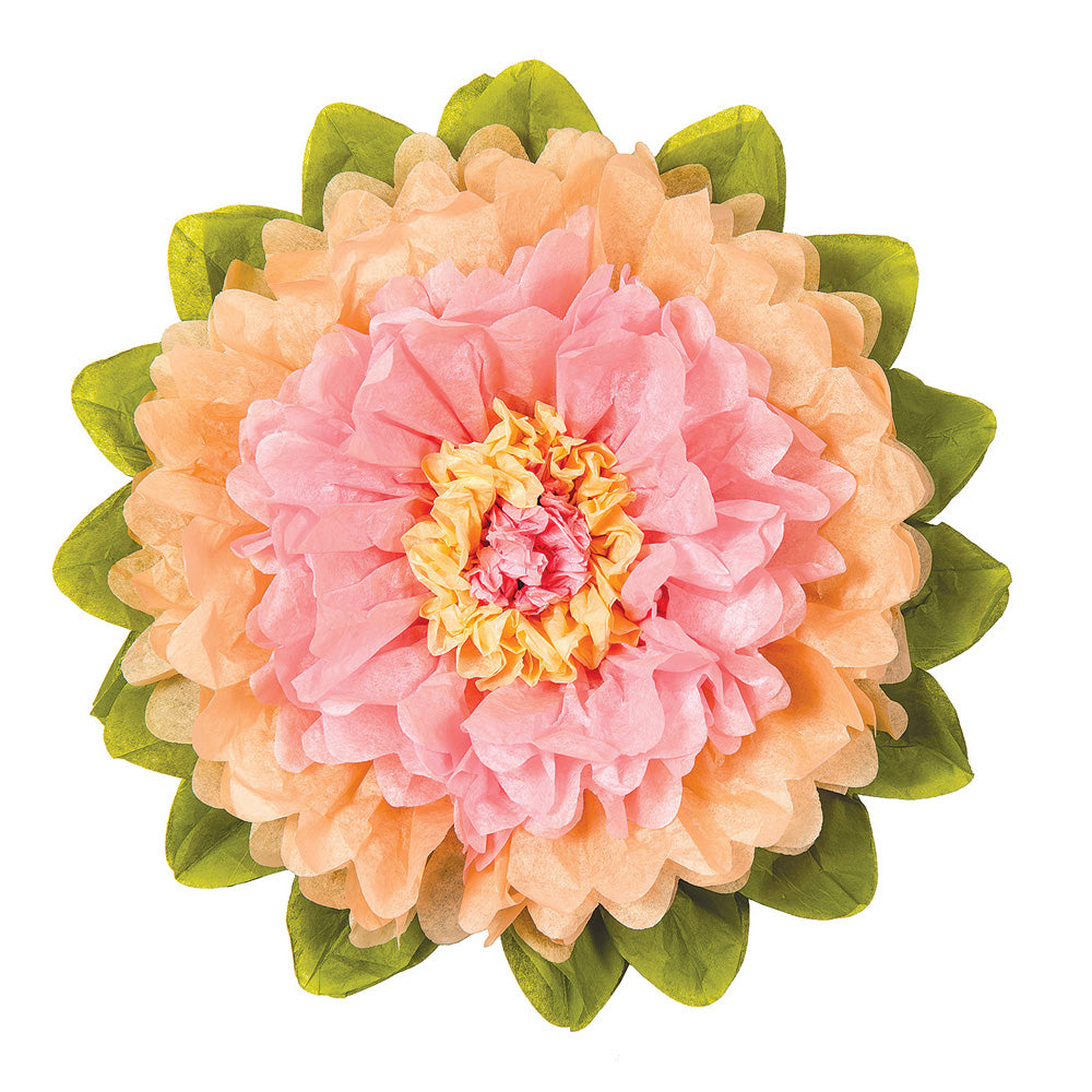Extra Large Tissue Paper Flower (20-Inch, Pink & Cantaloupe Orange)
