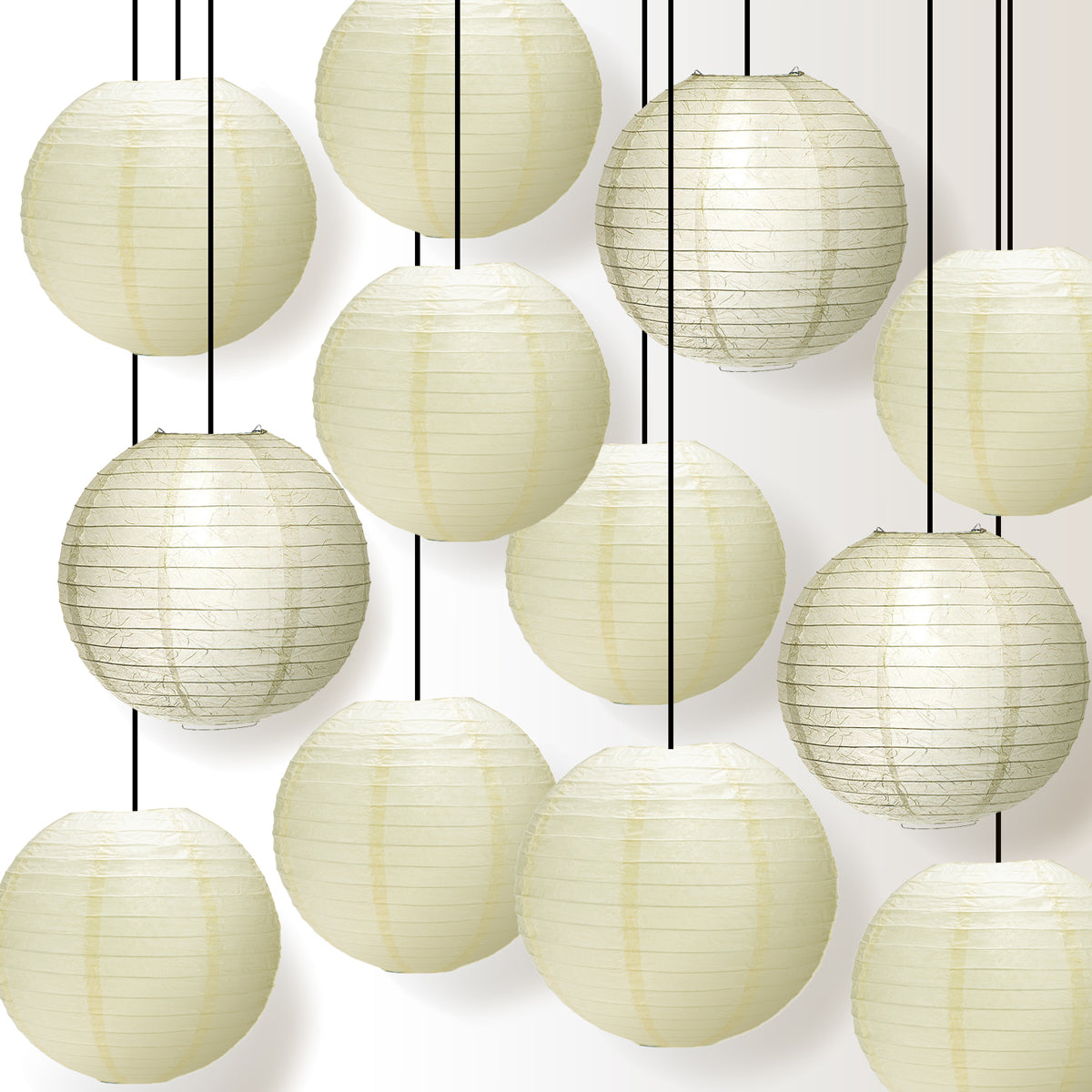 Premium 12-Piece Ivory Phoenix Feather Paper Lantern Party Pack Set