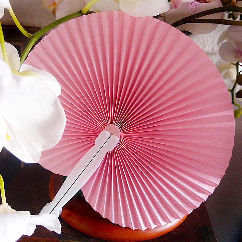 "9"" Pink Accordion Paper Hand Fan for Weddings (10 Pack)"