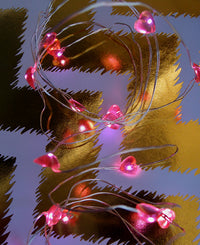 20 Pink Heart LED Micro Strand Fairy String Lights, Wire (4ft, Battery Operated)