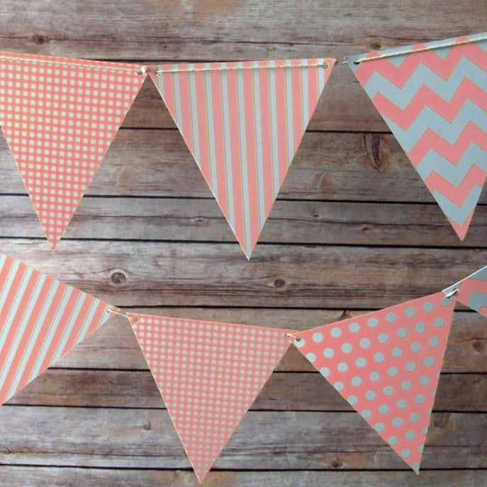 Pink Mix Pattern Triangle Flag Pennant Banner (11FT)